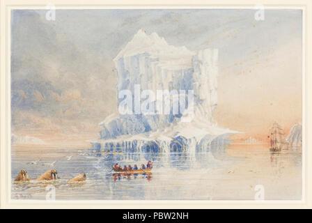 L'amiral Sir George Back montre HMS Terror ancré près d'une cathédrale-comme iceberg dans les eaux autour de l'île de Baffin. Banque D'Images