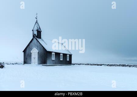 Budir Église, Islande, Europe Snæfellsnes en hiver Banque D'Images
