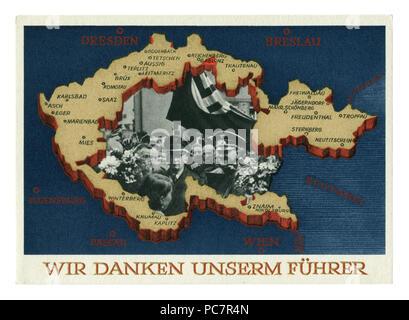 Carte postale historique allemand: Référendum sur l'adhésion de la région des Sudètes. L'annexion de certaines parties de la Tchécoslovaquie. 29 septembre 1938, Allemagne