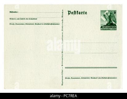 Dos de Carte postale allemande historique (PC7R4N): Référendum sur l'adhésion de la région des Sudètes, 1938 Empreinte Eagle stamp, carte vierge, en Allemagne, LE DR