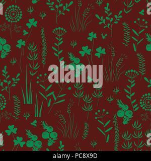 Hand drawn seamless pattern avec des fleurs sauvages. Doodle fleurs sauvages et herbes. Les éléments floraux monochrome. Dessin vectoriel. Banque D'Images