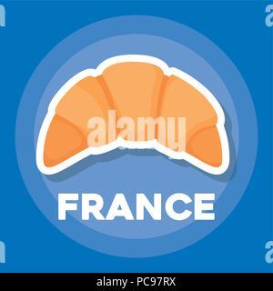 France culture design avec icône croissant sur fond bleu, design coloré. vector illustration Banque D'Images