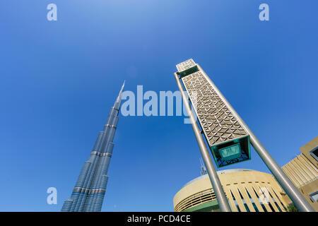 Burj Khalifa et le Dubai Mall, le centre-ville, Dubaï, Émirats arabes unis, Moyen Orient Banque D'Images