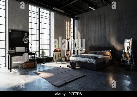 Grande chambre spacieuse dans un grenier avec conversion de hauteur des fenêtres du sol au plafond, des murs de béton gris, double divan lit de style, de plantes bureau et chaise. Banque D'Images