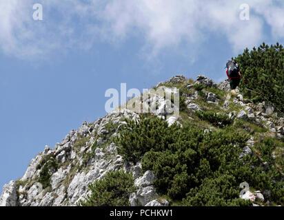 Randonneur qui monte chemin escarpé dans les alpes