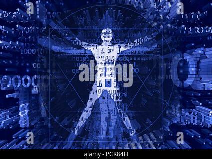Homme de Vitruve dans l'explosion des données informatiques. Illustration futuriste avec un homme de Vitruve de codes binaires symbolisait l'ère numérique. Banque D'Images