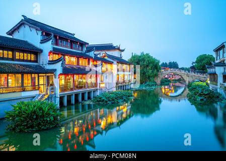 Scène de nuit de Qibao Old Town à Shanghai, Chine Banque D'Images