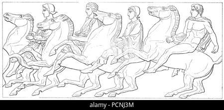 À la frise du Parthénon, un ancien temple, sur l'acropole d'Athènes, Athènes, Grèce, l'amélioration de la reproduction numérique d'une image historique de l'année 1885