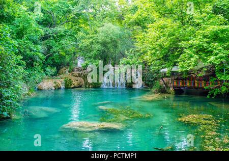 La Banque du petit lac de la forêt dans le parc naturel de Kursunlu est le meilleur endroit pour le pique-nique avec vue sur la cascade et végétation luxuriante, Aksu, la Turquie. Banque D'Images