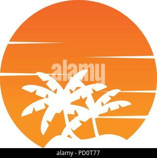 L'espace négatif circle palmier et soleil orange logo design concept vector Banque D'Images