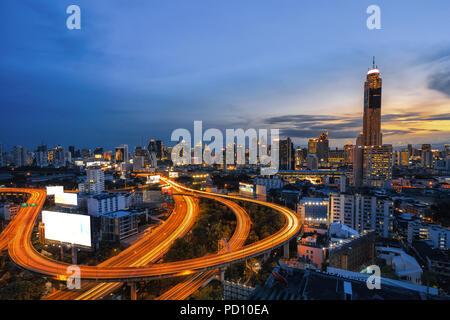 La ville de Bangkok Bangkok ville de Thaïlande, Bangkok city central business centre-ville avec l'autoroute interchangeables,ville de Bangkok vue quotidienne avec le trafic principal , Banque D'Images