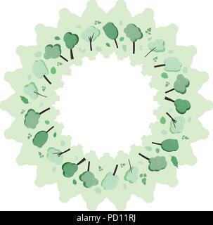 Reseaux De Medias Sociaux Composition Ronde Des Arbres Isoles Television Verts Et Feuilles Avec Decorations Guirlande