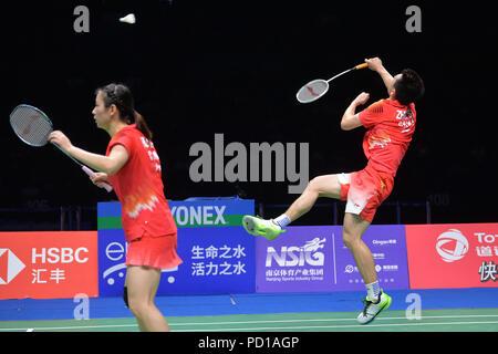 Nanjing,Chine,le 05 août 2018.Zheng et Huang Siwei Yaqiong de concurrencer la Chine Wang Dongping Yilyu et Huang de la Chine dans la finale du match à la 2018 La Fédération mondiale de badminton (BWF) Championnats du monde.Costfoto:Crédit/Alamy Live News