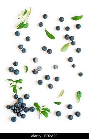 Bleuets frais avec des feuilles vertes feuilles, motif bleuets biologique isolé sur fond blanc, vue du dessus. Banque D'Images