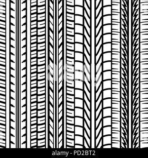 Arrière-plan blanc transparent avec des traces de pneus isolé silhouettes sur fond noir Banque D'Images