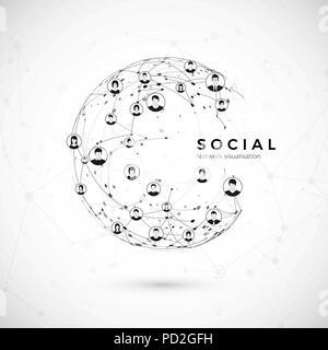 Réseau social. Structure du globe connexion. world wide web concept. Vector illustration Banque D'Images