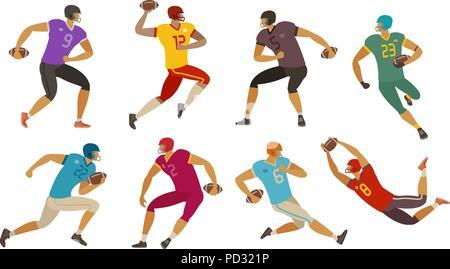Joueurs de football américain. Sport concept. Cartoon vector illustration
