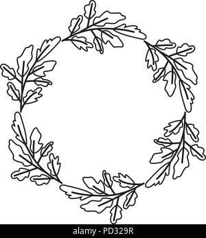 Les feuilles de la couronne cadre circulaire Banque D'Images