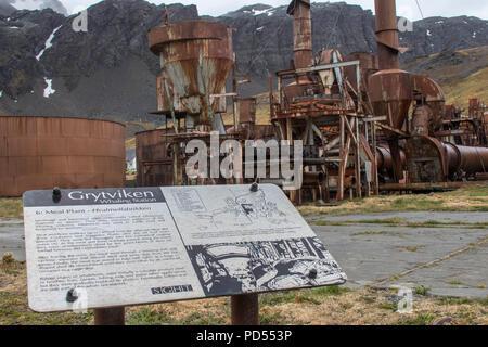 Station baleinière abandonnée à Grytviken Géorgie du Sud Banque D'Images