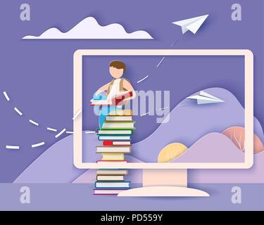 Retour à l'école 1 septembre carte. Écran avec montagnes et boy reading book et assis sur la pile de livres. Modèle de coupe de papier. Vector illustration