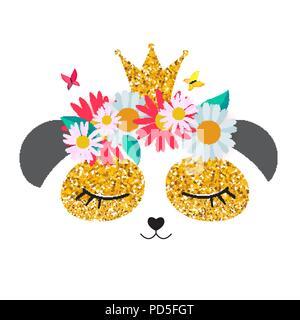 Petit panda mignon princesse avec couronne et fleurs pour carte et shirt design. Vector Illustration Banque D'Images