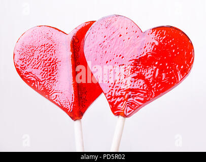 Deux candy heart shape on white background Banque D'Images