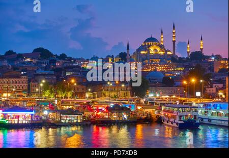 Vieille ville d'Istanbul - district de Fatih et la Mosquée de Suleymaniye, Turquie Banque D'Images
