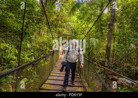 Deux photographes nature traversant un pont suspendu dans la forêt tropicale du parc national de Soberania, République du Panama. Banque D'Images