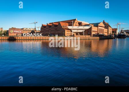 L'Île Olowianka Gdansk, vue de la salle Philharmonique de bâtiments sur l'Île Olowianka dans la ville de Gdansk, occidentale, en Pologne. Banque D'Images