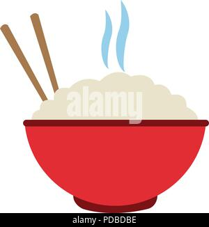 Bol de riz avec des baguettes sur
