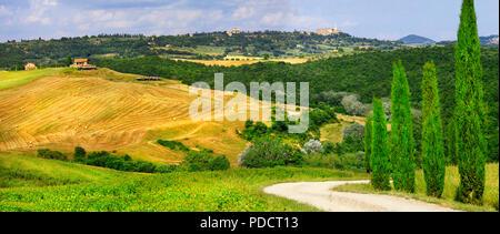 Paysage d'automne impressionnant,voir de cyprès et de champs,Val d' Orcia,Toscane,Italie. Banque D'Images