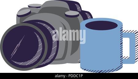 Appareil photographique et tasse à café sur fond blanc, vector illustration Banque D'Images
