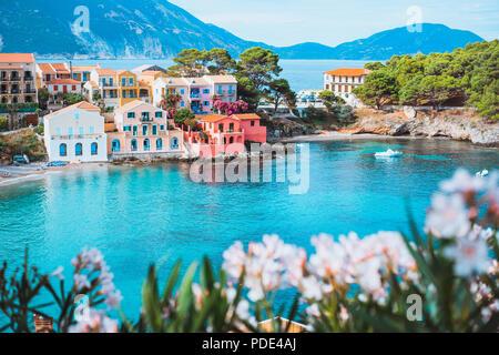 Fleur fleur blanche lumineuse en face de la baie de couleur turquoise en Méditerranée et de belles maisons colorées à Assos village de Kefalonia, Grèce Banque D'Images