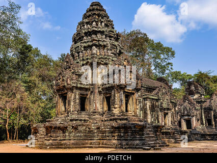 Dans les ruines du temple d'Angkor Wat, au Cambodge Banque D'Images