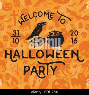 Bienvenue à Halloween. Vector retro Halloween badge. Concept pour chemise, logo, print, stamp, sceau ou timbre. Crow, livre de magie et pot. De l'Halloween Banque D'Images