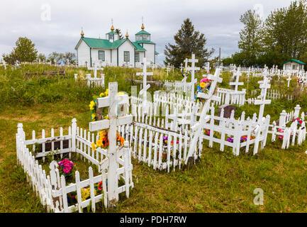 La Sainte Transfiguration de Notre Seigneur est une chapelle de l'église orthodoxe russe située près de Ninilchik sur la péninsule de Kenai en Alaska construit en 19 Banque D'Images