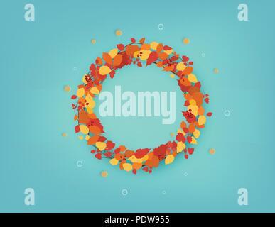 Couronne ronde d'automne avec les feuilles, les branches et les baies sur fond bleu. Floral frame circulaire avec décoration. Pour la saison de l'élément de conception et de vacances Banque D'Images
