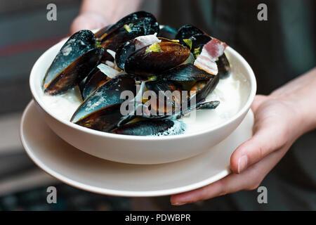 Moules aux oignons et lardons à la crème dans une assiette en mains femme