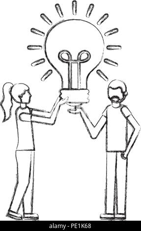 Beard man and woman holding Light bulb créativité vector illustration dessin à la main Banque D'Images