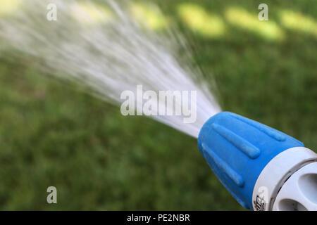 À l'aide d'un tuyau flexible dans le jardin Banque D'Images