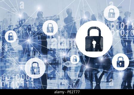 La cybersécurité ou concept pibr, la cybersécurité, les renseignements personnels et privés de la protection des données numériques en ligne, virtual serrures, connexion internet sécurisée Banque D'Images