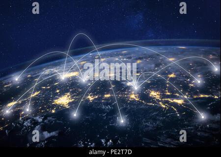 Réseau global concept, la technologie de l'information et des télécommunications, la planète Terre depuis l'espace, la communication d'entreprise dans le monde entier, l'image originale furnis Banque D'Images