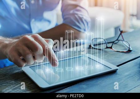 Concept de business intelligence, de l'analyse financière, avec colonne 3d chart Banque D'Images