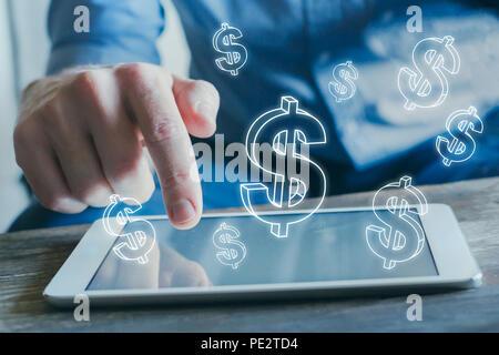 Concept financier, les profits d'affaires en ligne, e-business, gagner de l'argent sur internet, e-commerce Banque D'Images