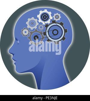 Illustration: une tête humaine avec cogs, représentant les processus mentaux Banque D'Images