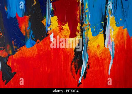 L'art abstrait arrière-plan. Peinture à l'huile sur toile. Texture lumineuse multicolore. Fragment de l'œuvre. Des touches de peinture. L'art moderne. Banque D'Images