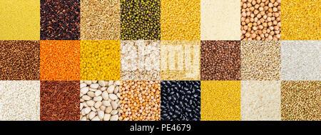 Collection de différentes céréales, céréales, riz et haricots différents. Banque D'Images