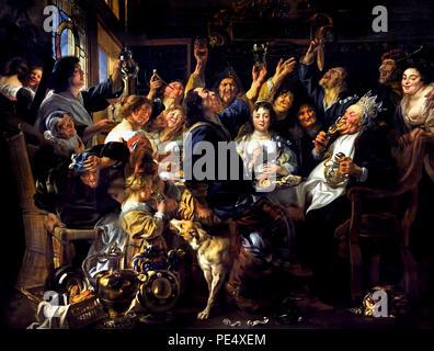 Fête de la fève roi 1640/1645 par Jacob Jordaens ( 1593 - 1678) peintre baroque flamand Belgique flamande belge ( folk custom sur l'Epiphanie: le finder dans le cas des haricots cuits dans un gâteau devient roi de la fête, il choisit la plus belle femme que la reine.) Banque D'Images