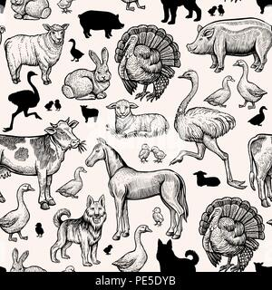 Les animaux de ferme modèle homogène. Gravure Vintage cheval, vache et porc, poulet, canard et de l'autruche. La Turquie, d'agneau et de mouton, de cheval. Handdrawn vecteur conception esquisse croquis noir pour imprimer Banque D'Images