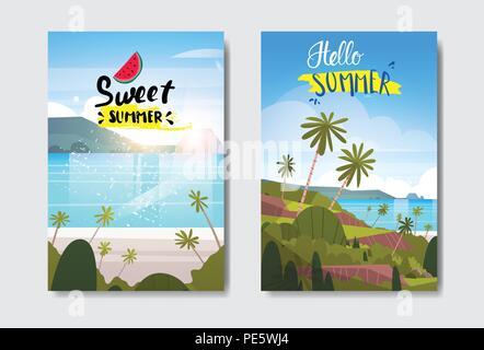 Définir l'été paysage tropical beach sunrise Label Design badge vacances saison lettrage pour les modèles logo carte de voeux invitation affiches et estampes